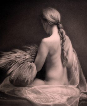 Damir May Ceres goddess of agriculture female nude charcoal drawing