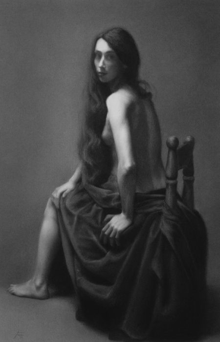 Damir May Portrait of a dancer nude charcoal drawing